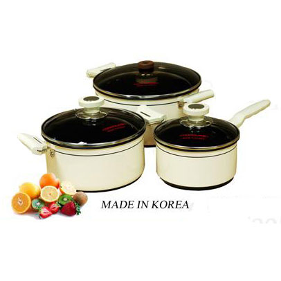 Bộ nồi Cookqueen nhập khẩu Hàn Quốc 3 chiếc nắp kính