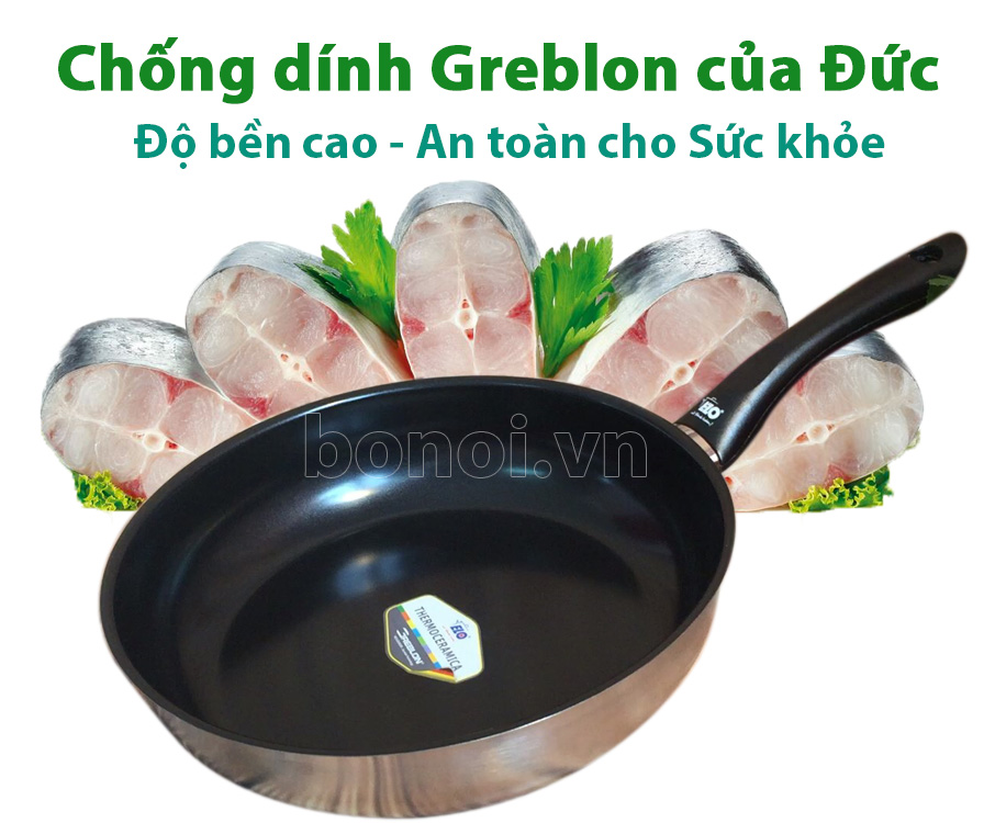 Chảo ELO được làm bằng chất chống dính nổi tiếng Greblon của Đức, Độ bền cao, an toàn cho sức khỏe