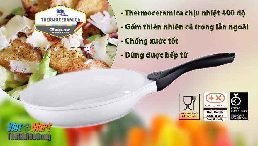 Chảo Chống dính bếp từ ELO pure white sử dụng gốm thiên nhiên an toàn cho sức khỏe, chống xước tốt