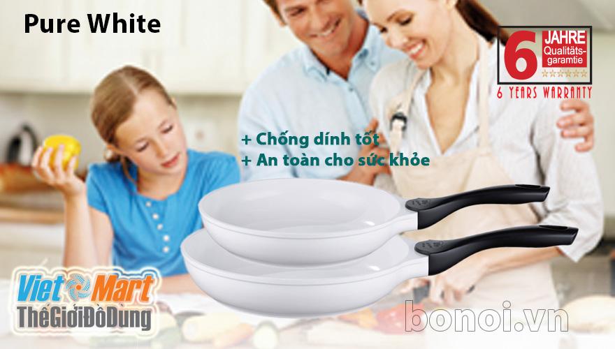 Chảo ELO Pure White chống dính tốt an toàn cho sức khỏethiết kế liền khối, phủ gốm cả trong lẫn ngoài