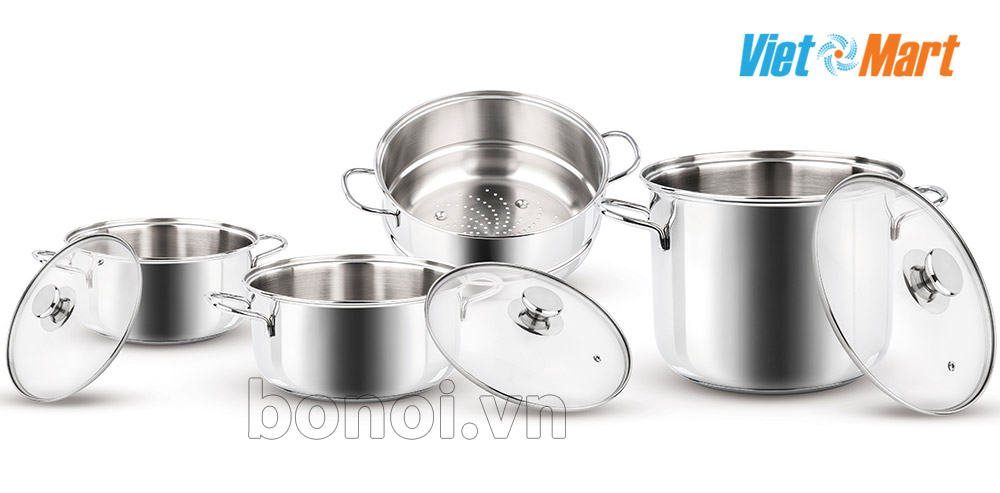 Nồi inox bếp từ Barazzoni kèm nồi hấp nhập khẩu Nồi inox bếp từ Barazzoni kèm nồi hấp nhập khẩu
