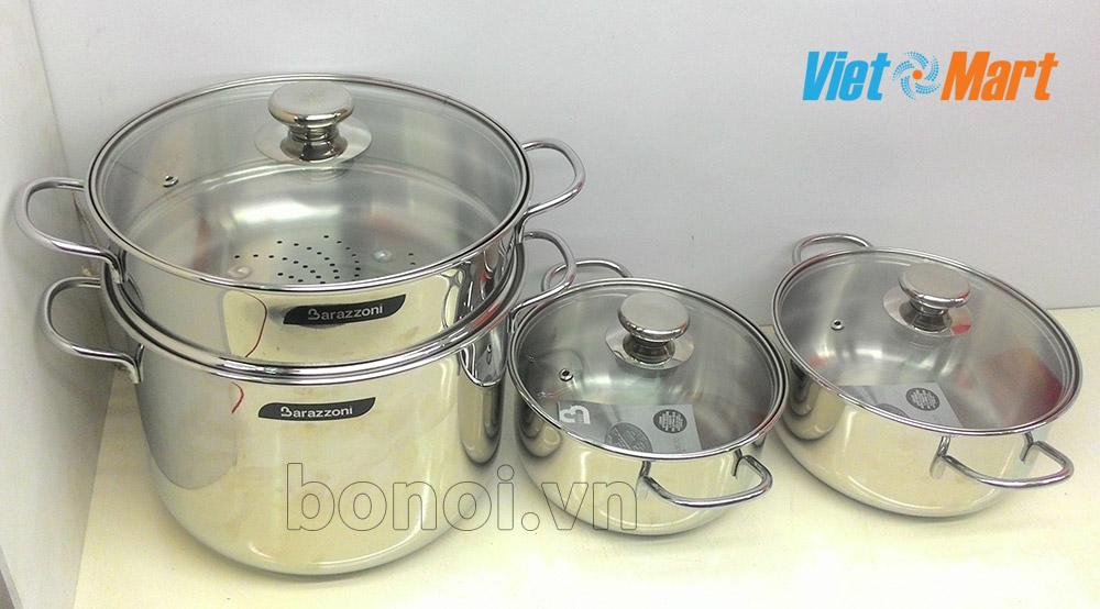 Bộ nồi dùng cho bếp từ Barazzoni nhập khẩu nguyên chiếc từ Italia