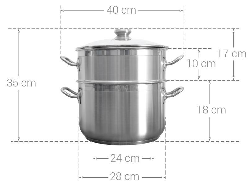 kích thước của xửng hấp fivestar 28cm nắp kính