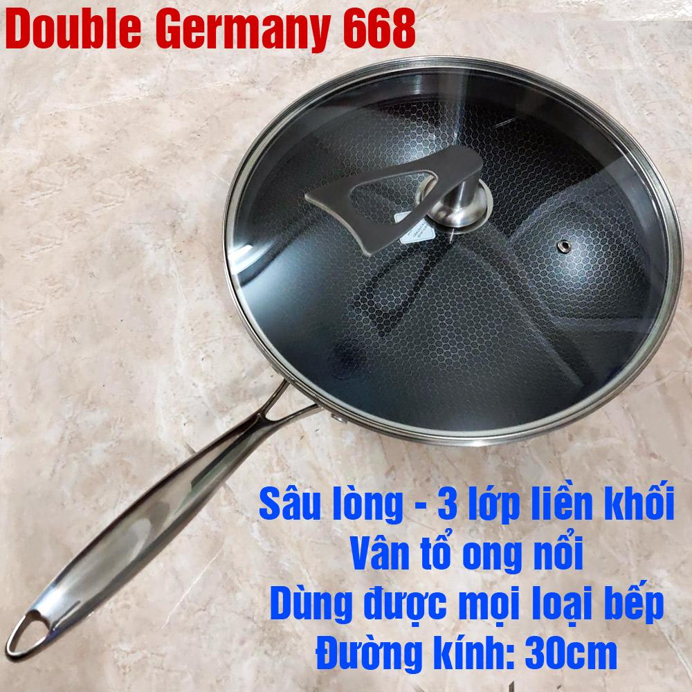 Chảo chống dính sâu lòng Double Germany 30cm vung kính bếp từ